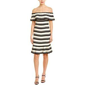 Halston Heritage Off Shoulder Striped Dress